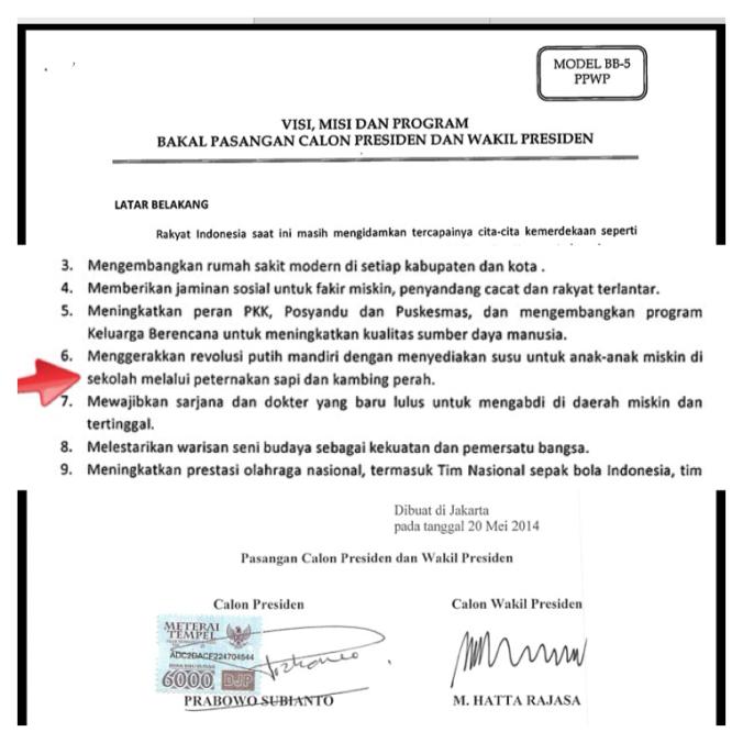 Revolusi Putih di Dokumen Visi-Misi Pasangan Prabowo-Hatta