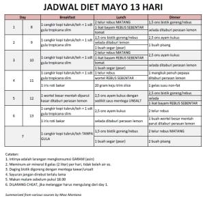 Diet Mayo 13 Hari yang banyak beredar di social media
